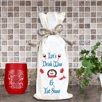 Personalized Drink Wine Eat Snow Wine Bag