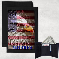 patriotic eagle superimposed over american flag on a tri-fold wallet with your name