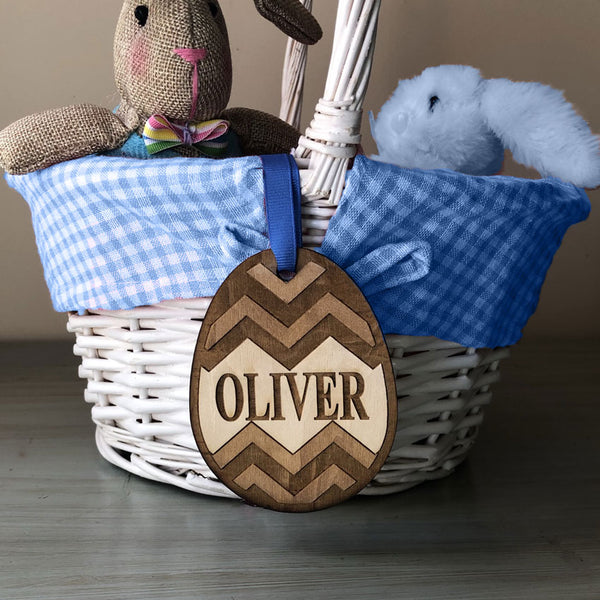 Easter Basket Name Tags Engraved Eggs and Bunny Ears