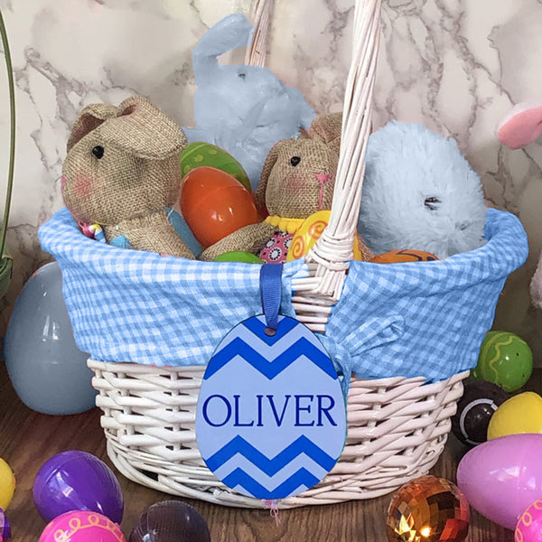 Printed Easter Egg Basket Name Tag shown in Blue with any name