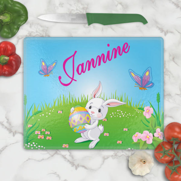 Personalized Easter Bunny Glass Cutting Boards