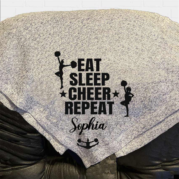 Cheerleader Eat, Sleep,Cheer, Repeat Personalized Throw Blanket
