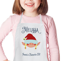 Kids Christmas Elf Apron with Name and any Text