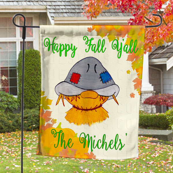 Scarecrow Personalized Welcome Garden Flags with any text