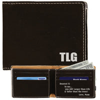 Custom Engraved Bi-Fold Wallet inside and outside view
