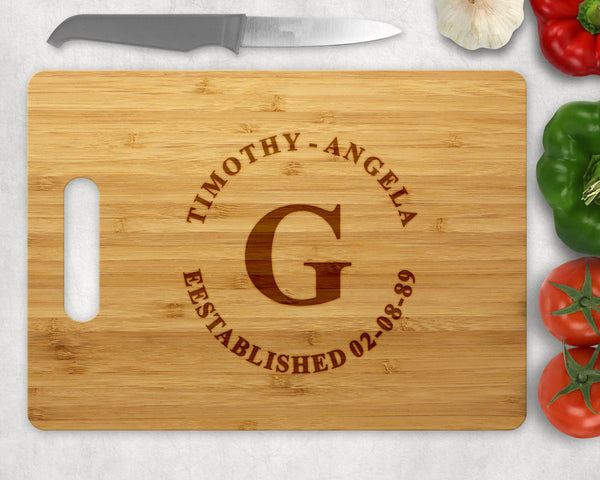 Personalized Established Bamboo Cutting Board With Initial, Names and Established Date