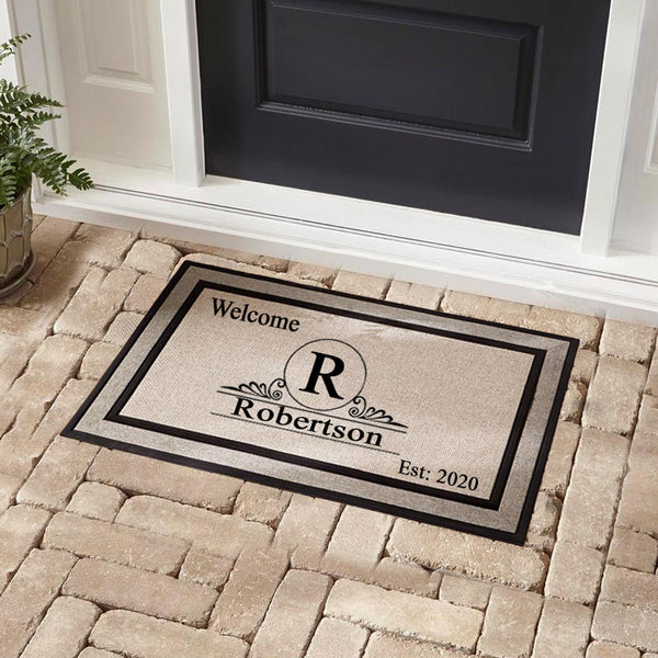 Established Monogram Doormat Personalized with Name and Date