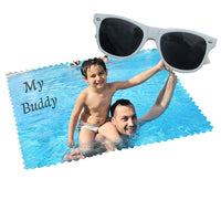 your photo and text on 6x6 or 10x10 eye glass cleaning cloth