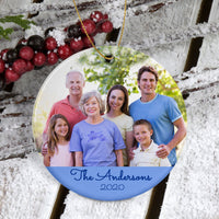 Family Photo With Grandparents, Children and Grandchildren on a porcelain ornament