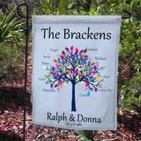 Family Tree Garden Flag Personalized With Your Family Names