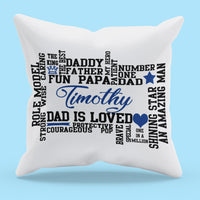 Dad Synonyms Word Art Personalized Pillow shown by itself