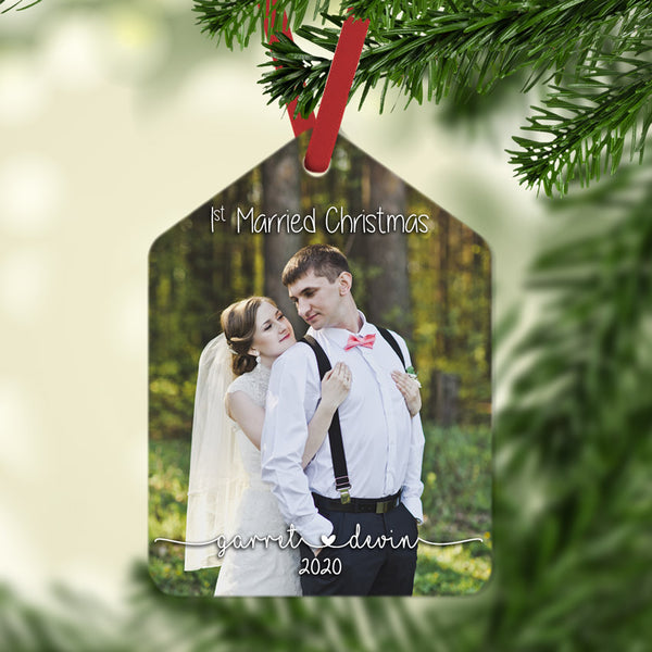 Gift tag shaped Christmas ornament with wedding photo. personalized with 1st married Christmas, your names and date, or any text.