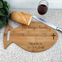 Fish Shaped-Daily Bread Wood Engraved Cutting Board Personalized