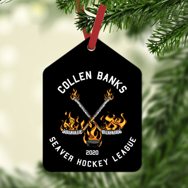 Flaming Hockey Sticks Gift Tag Christmas Ornament Personalized