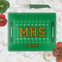 Football filed yard lines design on a glass cutting board. Text in Center and Bottom but you can personalize with text on top too