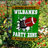 Football Party Zone Custom Welcome Flag Personalized with 2 lines of text