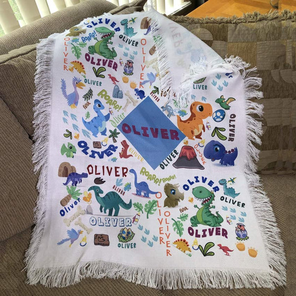 Dinosaurs Galore Personalized Fringed Throw Blankets with any Name