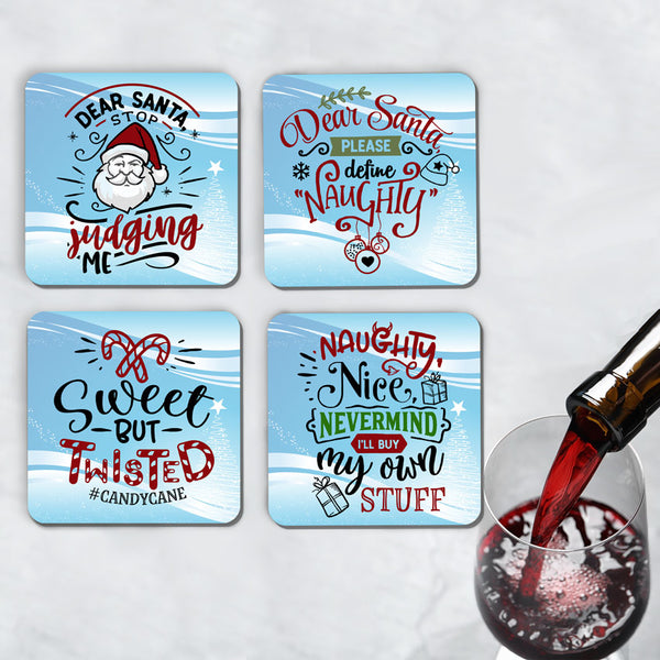 Funny Santa and Christmas Theme Drink Coasters Set of 4 (choose from 9 designs)