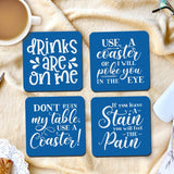Set of 4 funny coasters with coaster humor