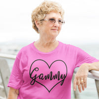 Gammy in Heart on a Pink Crew Neck Tee Shirt