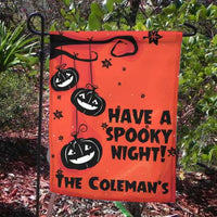 Have a Spooky Night Halloween Garden Flag with jack-o-lanterns  hanging from a tree branch and your name