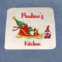 face or hand towel with gnome sled and gift giving elf personalized with any name