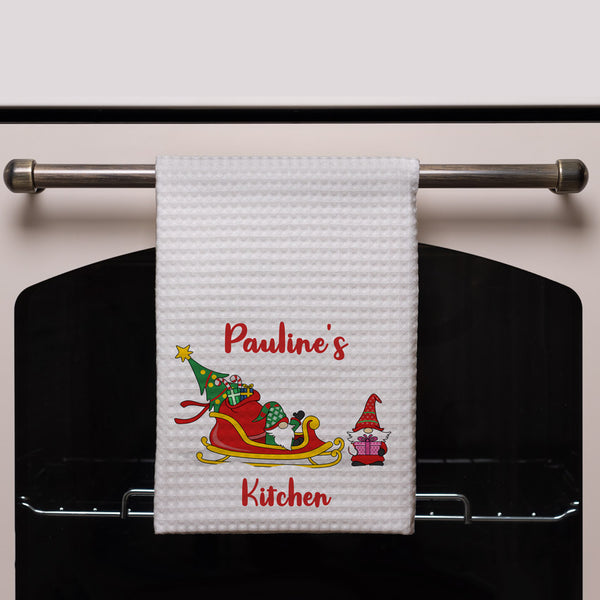 Personalized Kitchen Towels with gnome gift giving elves personalized with name