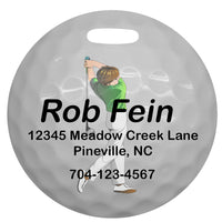 4 inch round Golf Bag Tag with Male Golfer and contact info