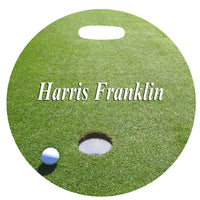 4 inch round Golf Bag Tag with golf green and name