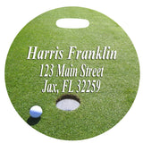 4 inch round Golf Bag Tag with golf green and contact info