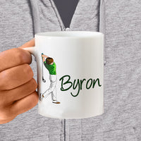 Male Golfer Graphic in swing and any name on a ceramic coffee mug