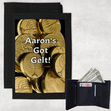 Black Nylon Tri-fold Wallet with picture of Hanukkah Gelt and your personalization
