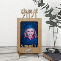 Class of 2021 Cut out Name Frame with wood feet for desk display