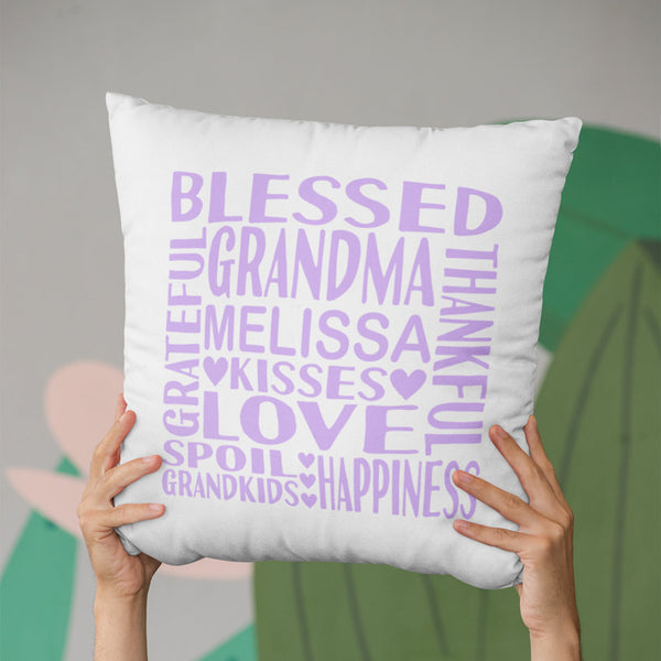 square throw pillow cover with words about grandma and her name in soft purple text