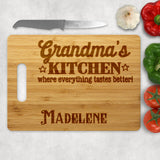 standard wood cutting board with slot on left or right with everything tastes better in your names kitchen design