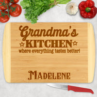 Any Title like Grandma's, Nanny's etc Kitchen where everything tastes better on a two tone cutting board personalized with a name