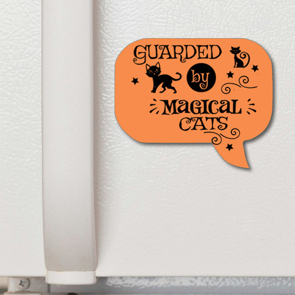 Halloween Speech Bubble Refrigerator Magnet Guarded by Magical Cats