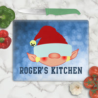 male elf cutting board with any name