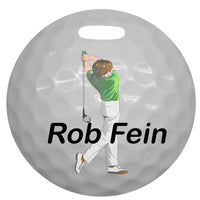 "4"" round golf bag tag with male golfer and name"