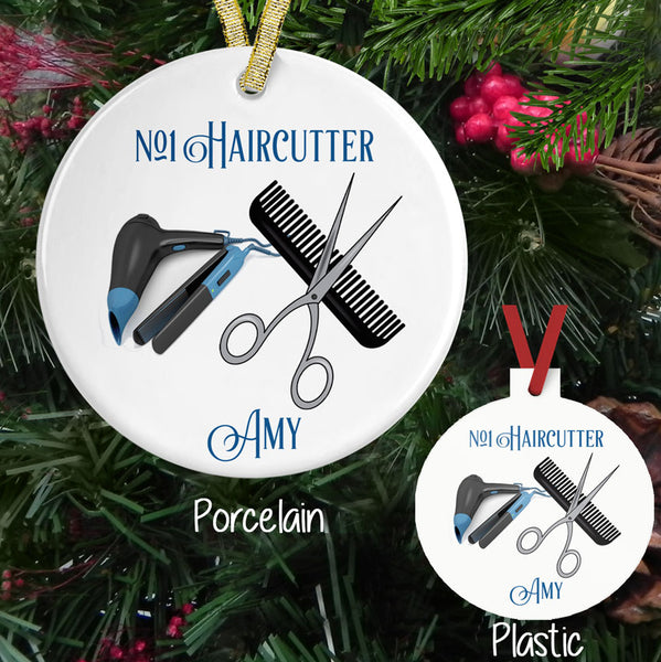 Showing both Porcelain and Plastic Ornaments for Hair cutters with comb, scissors, blow dryer and curling iron. Personalized above and below image area with your custom text