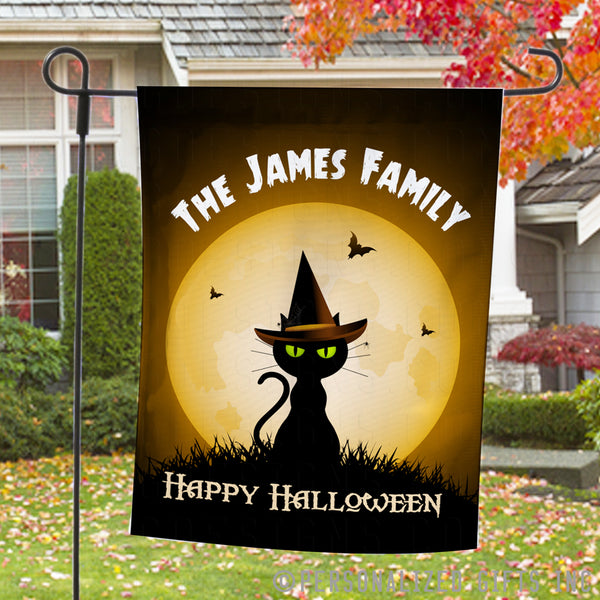 Welcome Garden Flags with Cute black cat with green eyes wearing witches hat sitting in front of a full moon Personalized with any name