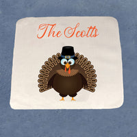 "13"" x 13"" hand or face waffle weave towel with turkey and any text"