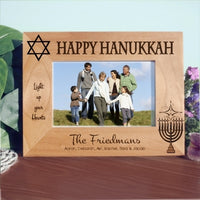Hanukkah Wood Engraved Picture Frames for wide photos, with menorah, star of David and three lines of custom text.