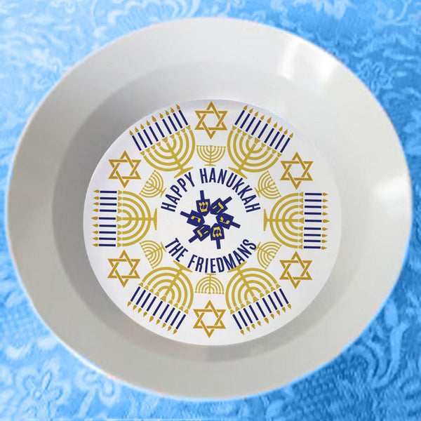 12 ounce high profile Bowl with Hanukkah Menorah Design and Your Name