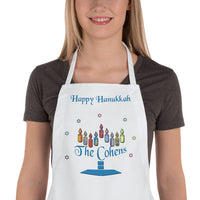 Name within base of Menorah on a custom apron with Hanukkah Wishes