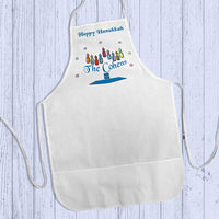 Happy Hanukkah Cooking Apron with Name as part of a menorah base
