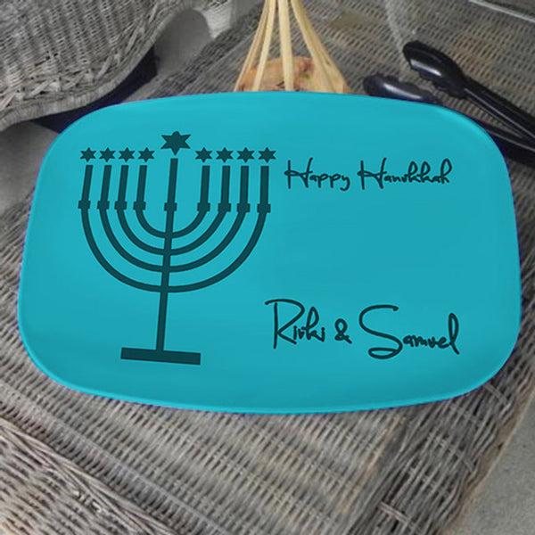 Teal Tones Menorah and your personalized Hanukkah Greetings and Name on a custom serving platter break resistant and bpa free