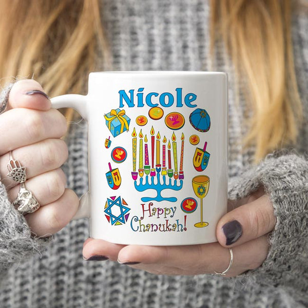 Colorful Menorah Surrounded by other Hanukkah Images such as dreidels, gelt, chalice, yamika and more with your personalized name and Hanukkah Greetings.