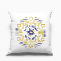 Square throw pillow with Stylish Hanukkah Design and your personalized text