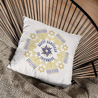 circular design with menorahs stars and dreidels along with your hanukkah greetings and name personalized throw pillow